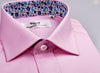 B2B Shirts - Pink Royal Oxford Formal Business Dress Shirt with Floral Inner-Lining - Business to Business
