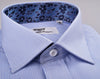 B2B Shirts - B2B Blue Thin Hollow Stripe Formal Business Dress Shirt Hawaiian Hibiscus Fashion - Business to Business