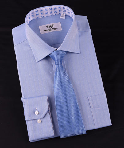 Light Blue Herringbone Formal Business Dress Shirt Stylish Luxury Fashion Apparel in Button Cuffs with Chest Pocket