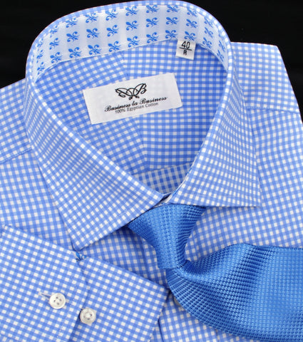 Classic Blue Designer Gingham Checkers Formal Business Dress Shirt in Luxury Floral Fashion