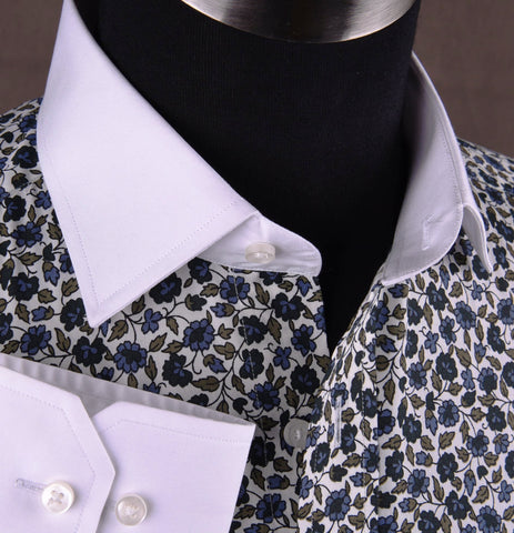 Floral Dress Shirt Formal Business or Casual Dress Shirt in Spread White Collar