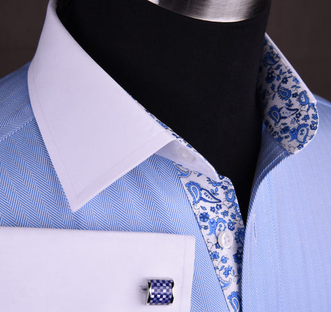 Luxury Designer Herringbone Formal Business Dress Shirt in French Double Contrast Cuffs with Casual Designer Flowers