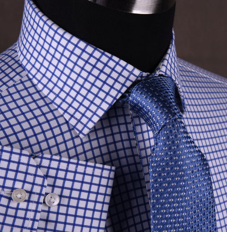 Blue Plaids & Checks Twill Formal Business Dress Shirt Paisley B2B Spread Collar in Single Button Cuffs