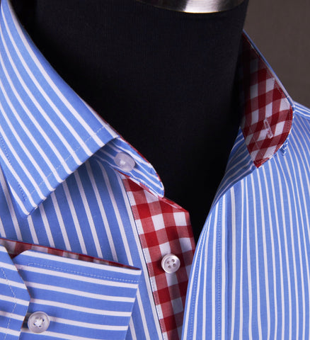 Blue Striped Formal Business Dress Shirt with Contrast Red Gingham Check Plaid Designer Inner-Lining in Single Button Cuffs