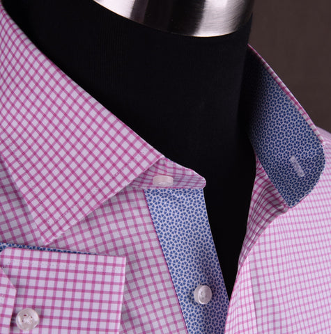 Pink Designer Checkered Dress Shirt Formal Business Luxury Stylish Fashion in Button Cuffs with Chest Pocket
