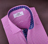B2B Shirts - Red Magenta Gingham Check Formal Business Dress Shirt Wrinkle Stars Blue Twill Fashion - Business to Business