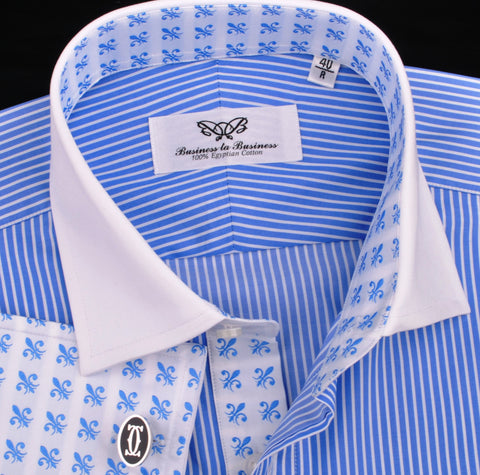 Luxury Blue Small Striped Formal Business Dress Shirt in French Double Cuffs - White Contrast Cuff