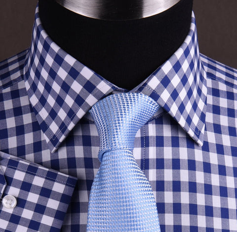 Blue Gingham Checkered Formal Business Dress Shirt in Standard Button Single Cuffs