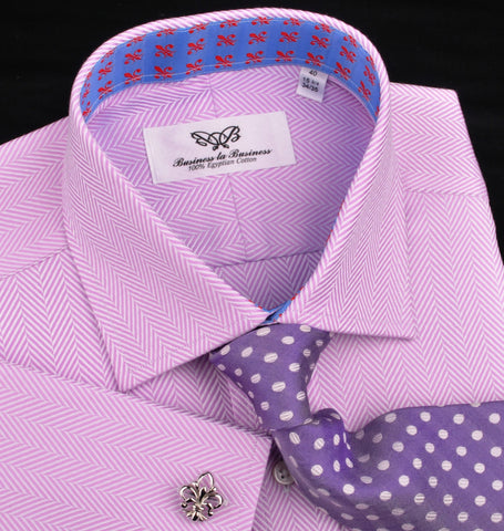 Purple Violet Herringbone Formal Business Dress Shirt Stylish Luxury Fashion Work Apparel