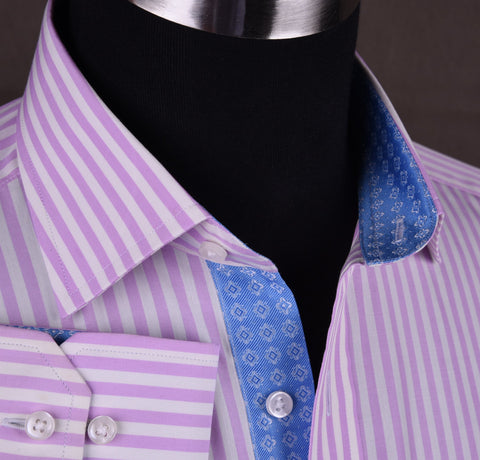 Bright Pink Striped Dress Shirt Formal Business Luxury Blue Diamond Star Apparel