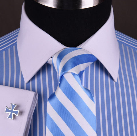 Red Blue Formal Business Dress Shirt America Stripes White Button Contrast Cuff