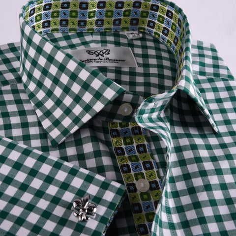 B2B Shirts - Green Gingham Check Formal Business Dress Shirt Blue Puzzle Designer Fashion - Business to Business