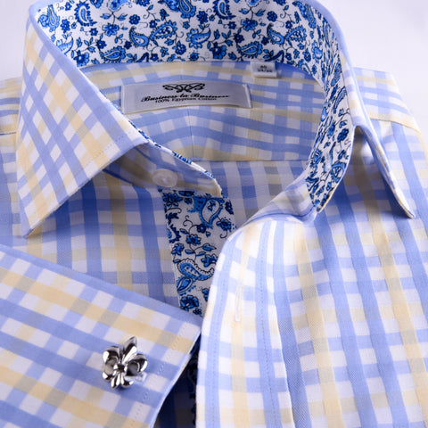 B2B Shirts - Yellow Blue Herringbone Checkered Striped Formal Business Dress Shirt Luxury Twill Design French Cuffs - Business to Business