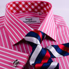 B2B Shirts - Red Pink Striped Formal Business Dress Shirt Wrinkle Free Plaids & Checks French in Double Cuffs - Business to Business