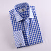 B2B Shirts - Blue Gingham Check Formal Business Dress Shirt Designer Checkered With Contrast Light Blue Collar And Cuffs - Business to Business