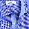 New Arrival Blue Gingham Check Formal Business Dress Shirt Inner Lining Luxury Fashion