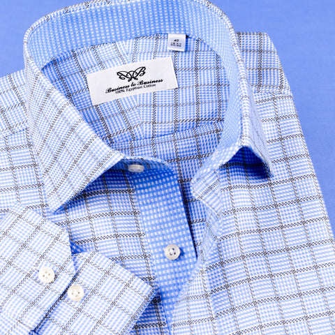New Arrival Light Blue Check With Hounds Tooth Inner Lining Formal Business Dress Luxury Fashion