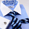 Blue Royal Oxford Floral Paisley Formal Business Dress Shirt With Contrast Collar And Cuffs