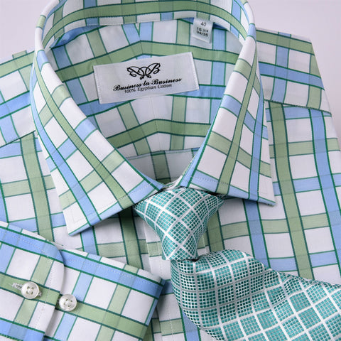 Green Blue Herringbone Twill Checkered Striped Formal Business Dress Shirt Luxury Design