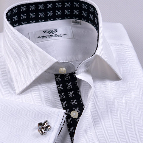 White Herringbone Twill Formal Business Dress Shirt Black Fleur-De-Lis Fashion