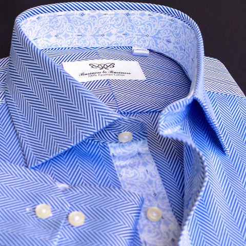 New Arrival Herringbone With Floral Inner Lining Formal Business Dress Shirt Inner Lining Luxury Fashion