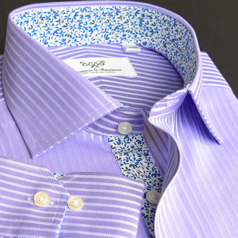 Purple Herringbone Twill Herringbone Formal Business Dress Shirt Striped Luxury Fashion