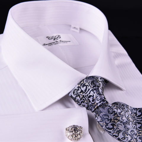 White Twill Stripe Every Dress Shirt Formal Business Boss French Cuff Boss in French Cuffs with Spread Collar