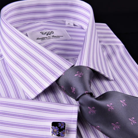 Purple Dual Striped Men's Twill Formal Dress Shirt Luxury Business Boss Fashion in French Cuff with Spread Collar