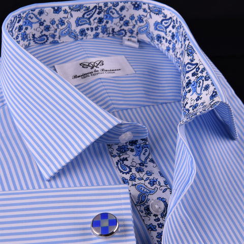 Light Blue Striped Business Dress Shirt Formal Paisley Floral Designer Fashion in French Cuffs with Spread Collar