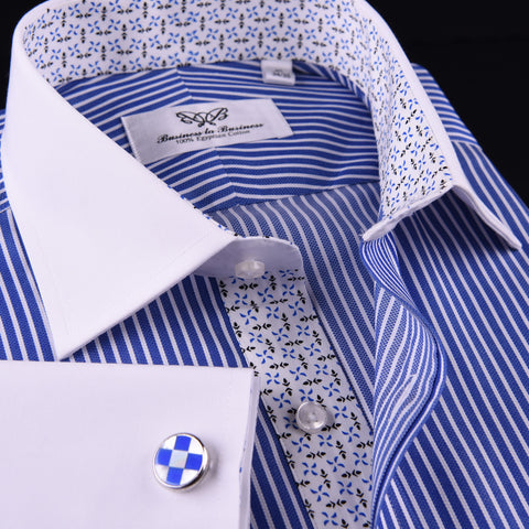 Blue Floral Striped Formal Business Dress Shirt White Collar White Cuff Contrast in French Cuffs and Spread Collar