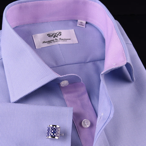 Blue Royal Oxford Lilac Twill Dress Shirt High End Formal Luxury Egyptian Cotton in French Cuff and Spread Collar