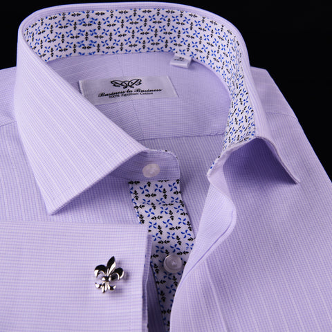Soft Purple Pink Designer Checkered Dress Shirt Windmill Formal Floral Business in French Cuffs with Spread Collar