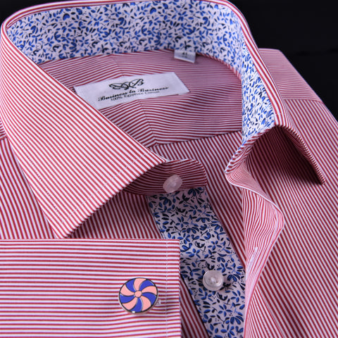 Mini Red Hairline Stripes Formal Business Dress Shirt Blue Floral Designer Style in French Cuff with Spread Collar