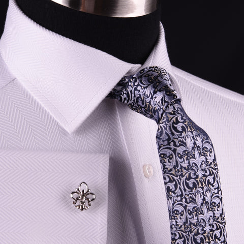 White Herringbone Twill Business Dress Shirt Formal Luxury Fashion