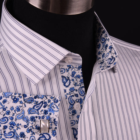 Blue Dual Stripes Formal Business Dress Shirt Paisley Floral Designer Fashion GQ in French Cuffs and Spread Collar
