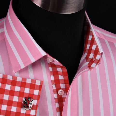 Big Pink Twill White Oxford Striped Formal Dress Shirt Sexy Boss Fashion 2x Cuff in French Cuff with Spread Collar
