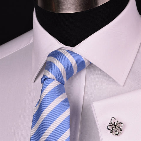 Solid White Royal Oxford Formal Dress Shirt Men's Professional Business Work Top in French Cuffs and Spread Collar