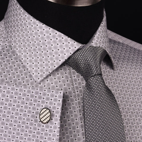 Coin Boss Business Dress Shirt Gray Twill Zig Zag Formal Designer Polka Dotted in French Cuffs with Spread Collar