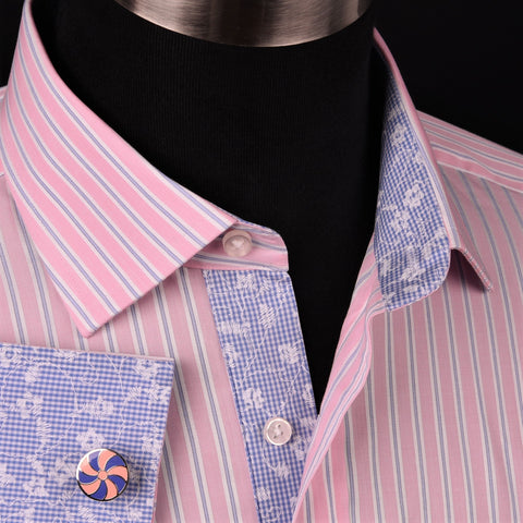 Thin Blue Pink Wide Stripe Formal Business Dress Shirt Floral Gingham Check Boss in French Double Cuffs in Spread Collar
