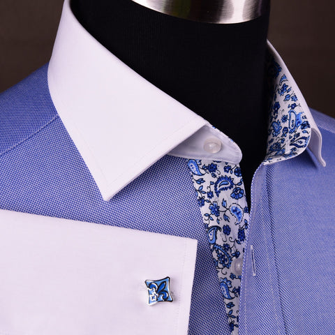 Blue Royal Oxford Floral Paisley Formal Business Dress Shirt