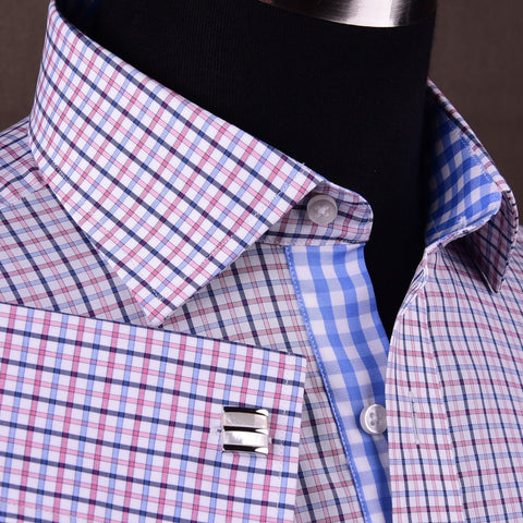 Red White Blue Tattersall Plaid Checkered Formal Business Dress Shirt