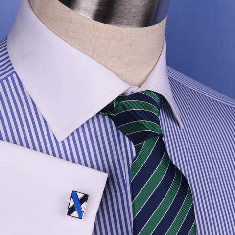 New Light Blue Striped Dress Shirt Luxury Men's White French Collar Business Top in French Cuffs
