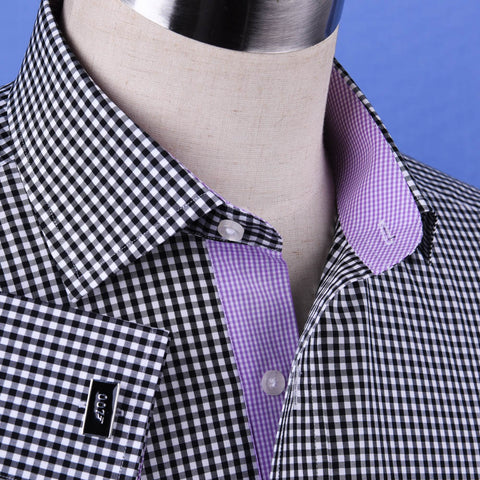 Black Gingham Check with Mini Purple Gingham Inner Lining