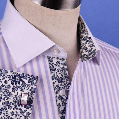 Pastel Multi-Colored Striped Dress Shirt White Poplin Contrast Cuff Business Top in French Cuffs