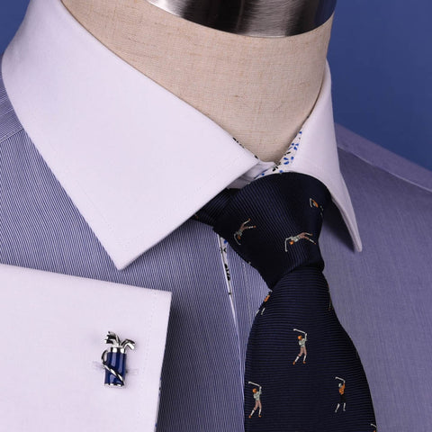 Solid Navy Blue Business Dress Shirt Formal White Collar & Cuff Contrast Floral in French Cuffs and Spread Collar