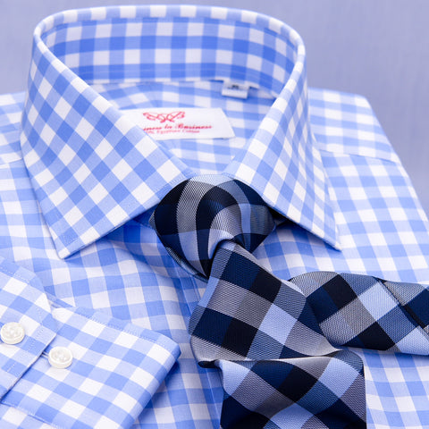 Blue & White Gingham Check Formal Business Dress Shirt Exclusive Striped Fashion A+