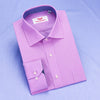Solid Pink Mens Formal Business Dress Shirt Blue Designer Inner-Lining Fashion in Single Button Cuffs