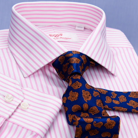 Pink Twill Stripe Business Dress Shirt Mens Formal Fashion Luxury Button Cuff A+ in Single Cuffs