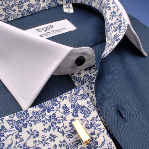 B2B Shirts - Dark Navy Twill White Contrast Cuff Formal Business Dress Shirt with Floral Inner-Lining - Business to Business