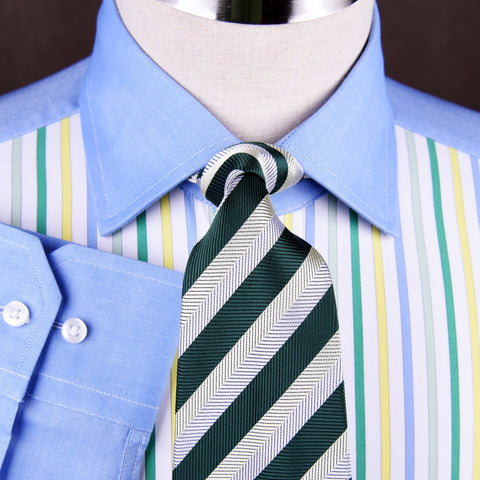 B2B Shirts - Blue Poplin Yellow Green Grey Striped Formal Business Dress Shirt - Business to Business